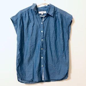 LOFT chambray sleeveless button up size M